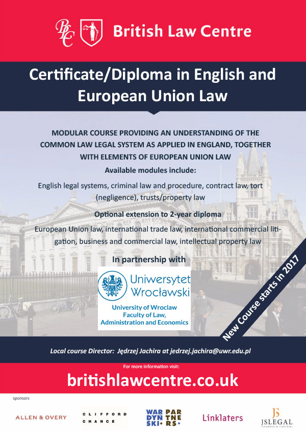 British Law Centre; Certificate/Diploma in English and European Union Law